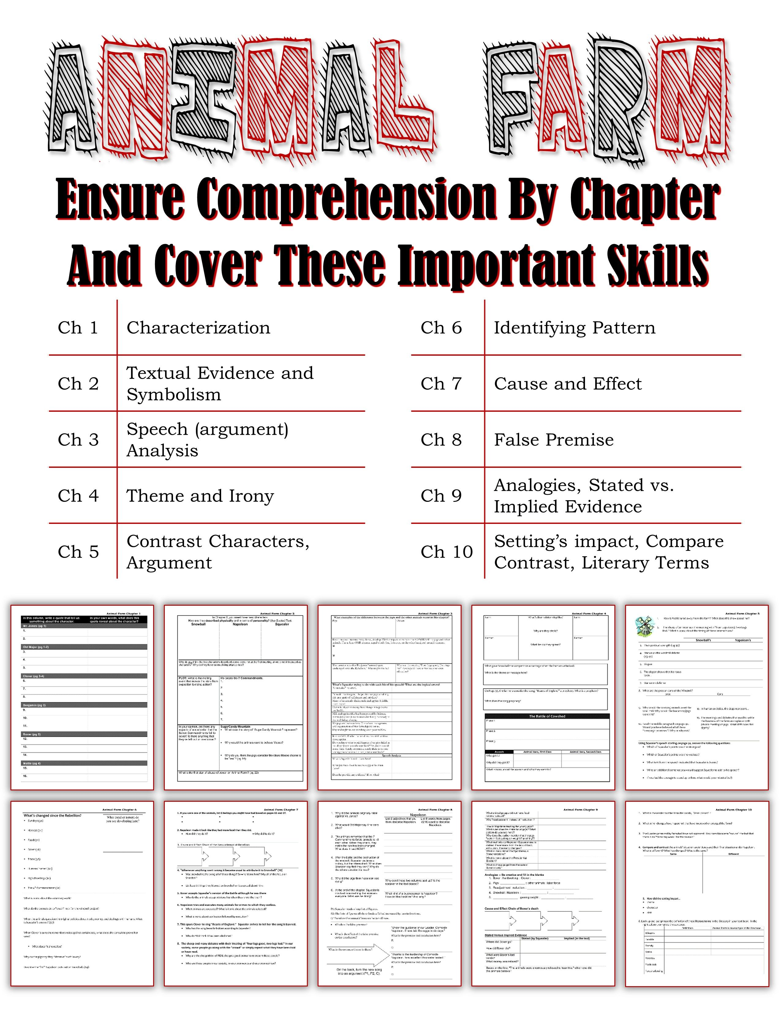 worksheet Rhetorical Devices Worksheet animal farm unit one skills page per chapter plus 4 assessments by skill