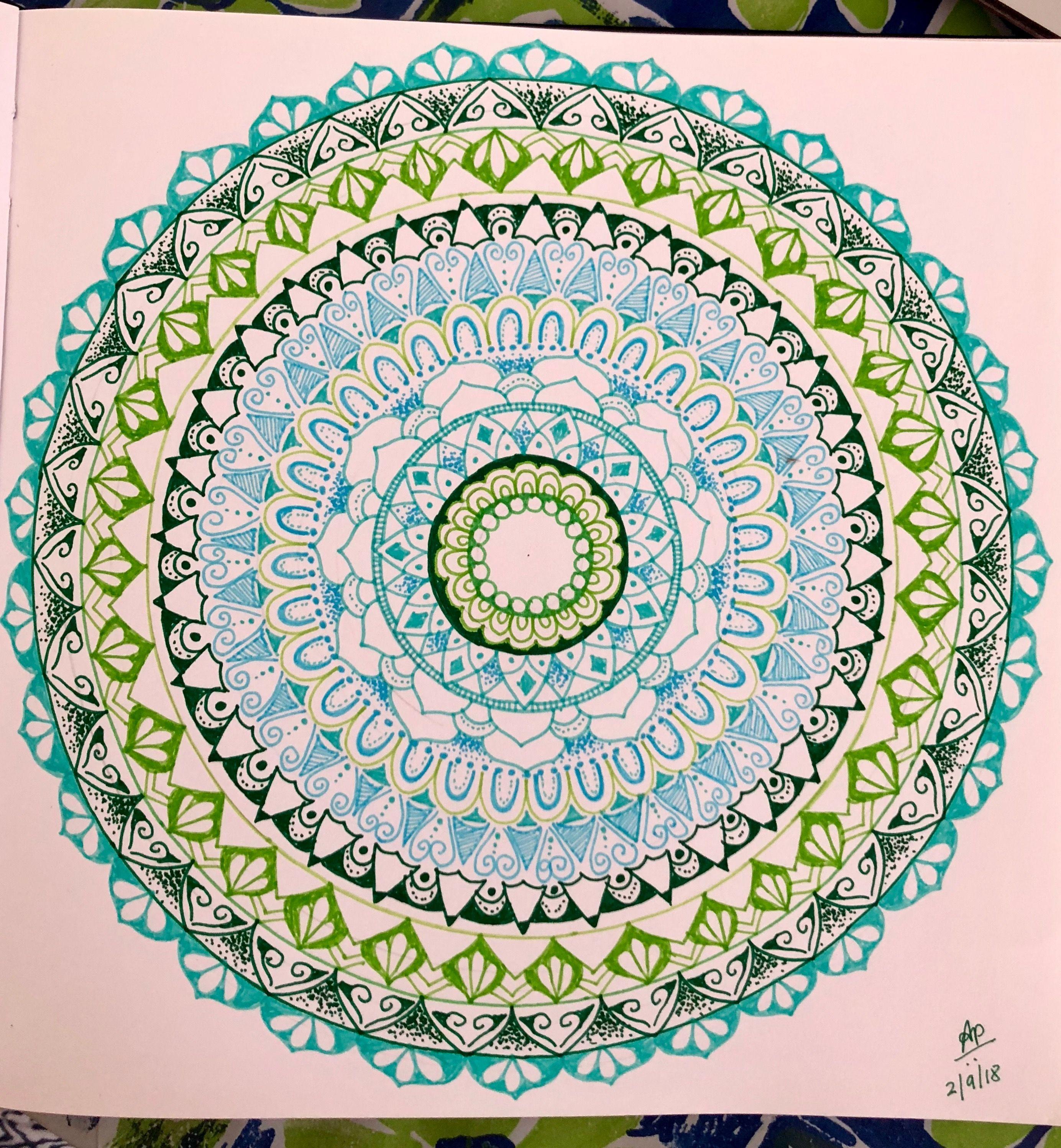 Mandala With Colored Fine Tip Pens Free Hand Mandala Green And Blue Mandala Sacred Geometry Art Doodle Art Drawing Zen Art