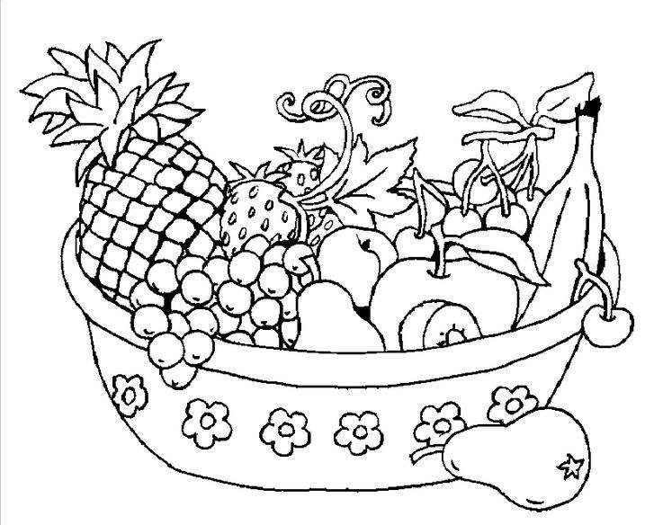 fruits bowl | Speech Therapy | Fruit coloring pages ...
