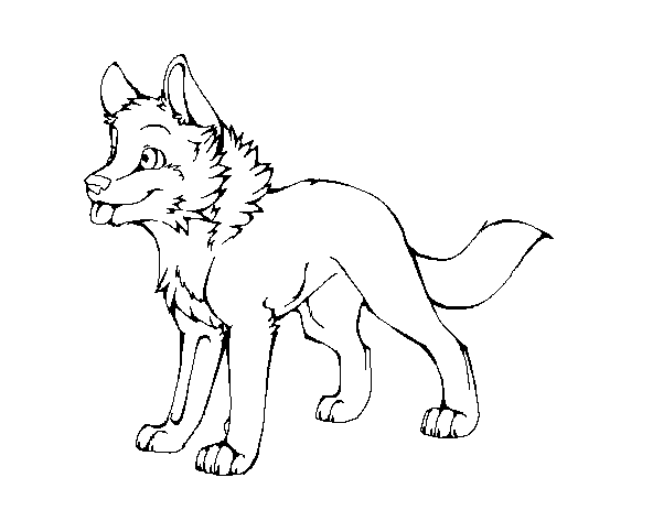 Wolf Pup Lineart Puppy Coloring Pages Cute Cartoon Drawings Anime Wolf Drawing