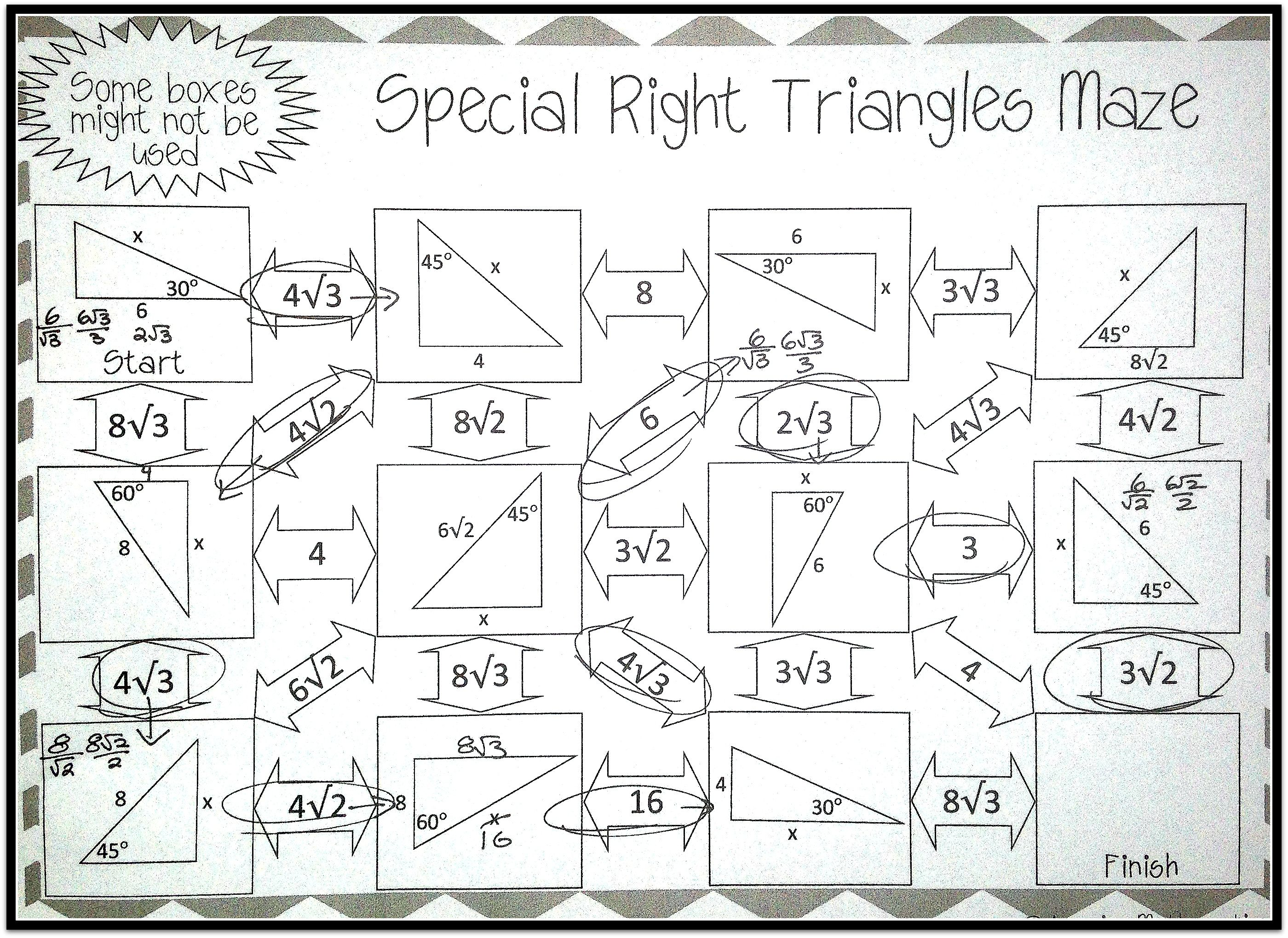 Special Right Triangles Maze Geometry Worksheets