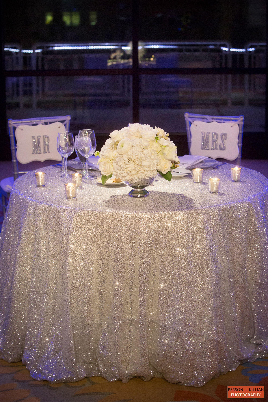 Rentals Unlimited Psav Seaport Hotel Boston Dana Markos Events Boston Event Photography Boston Bride Groom Table Sweetheart Table Wedding Glittery Wedding