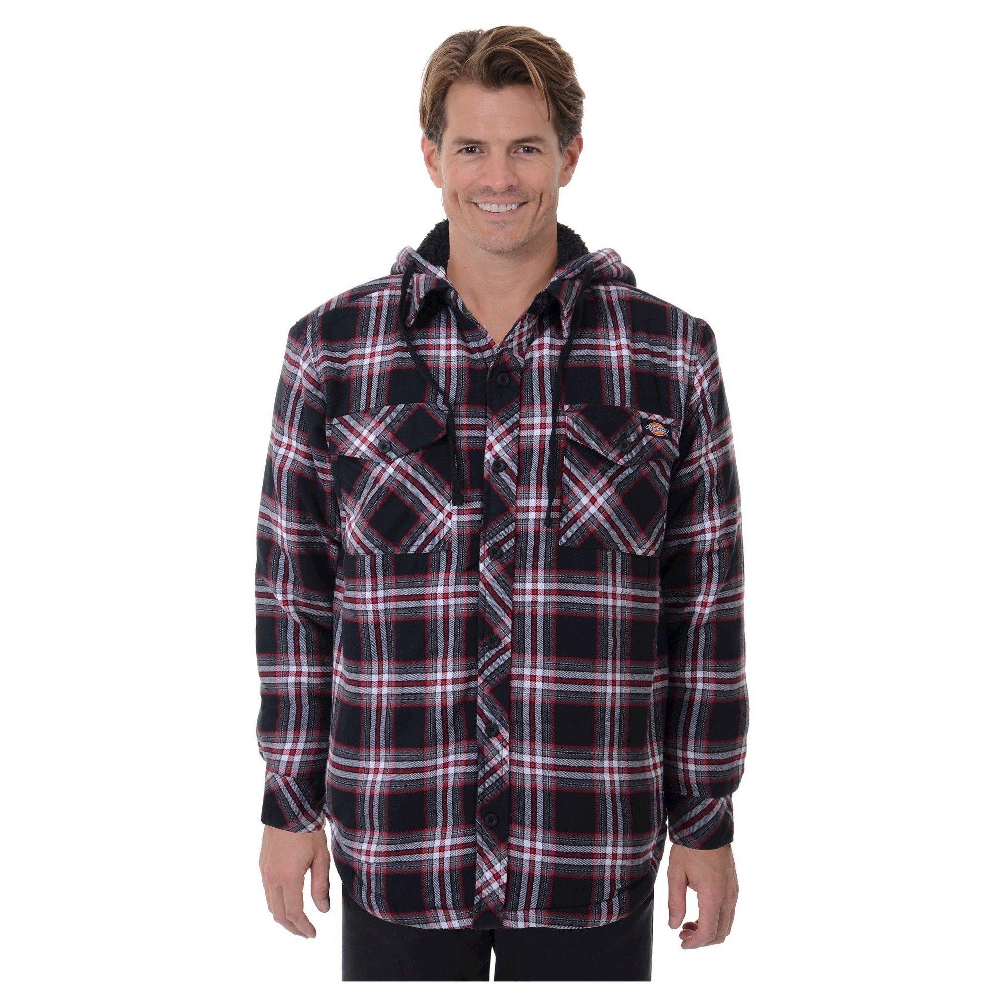 Dickies Men's Sherpa Lined Hooded Flannel Shirt Jacket