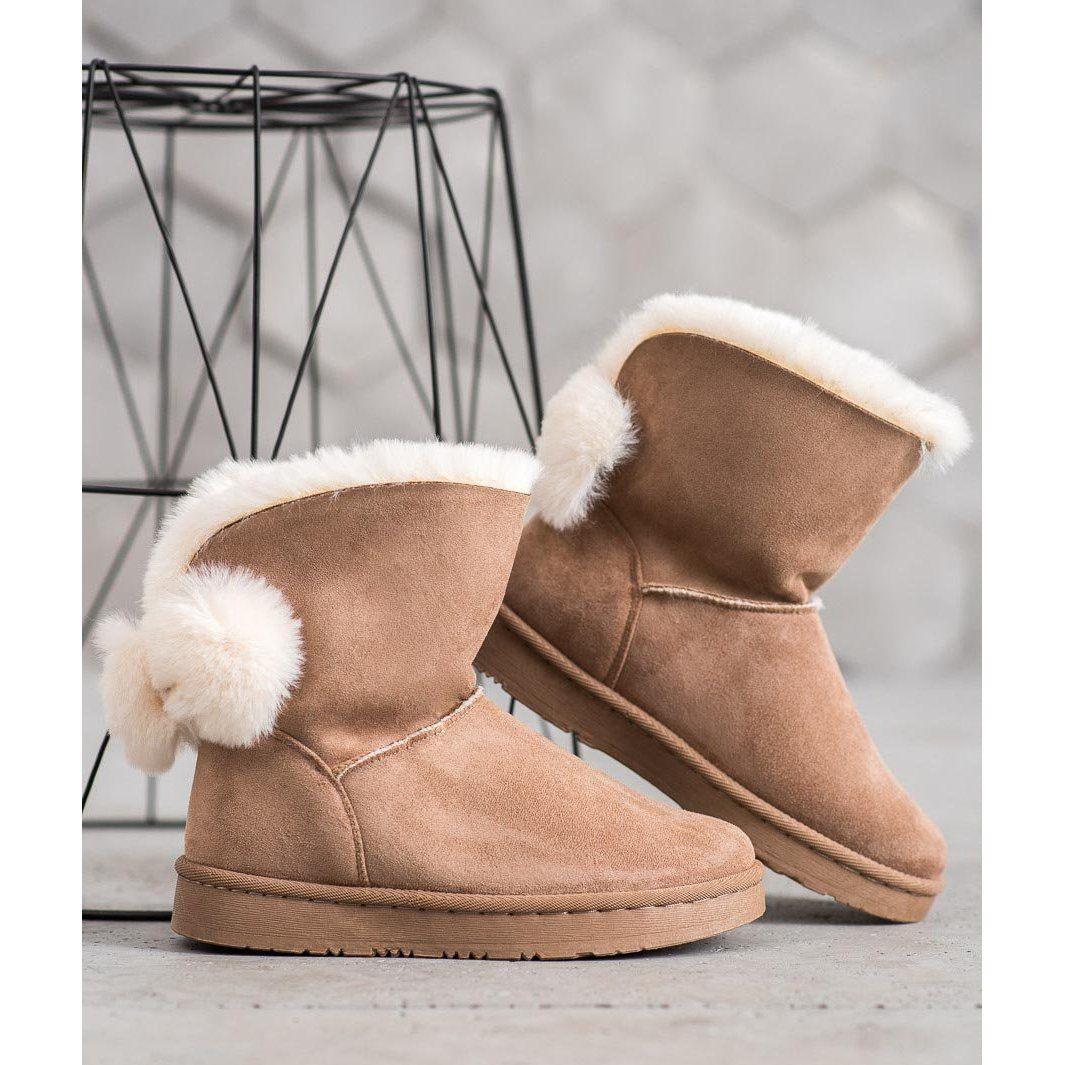 Shelovet Warm Suede Mukluki Brown Snow Boots Women Suede Snow Boots