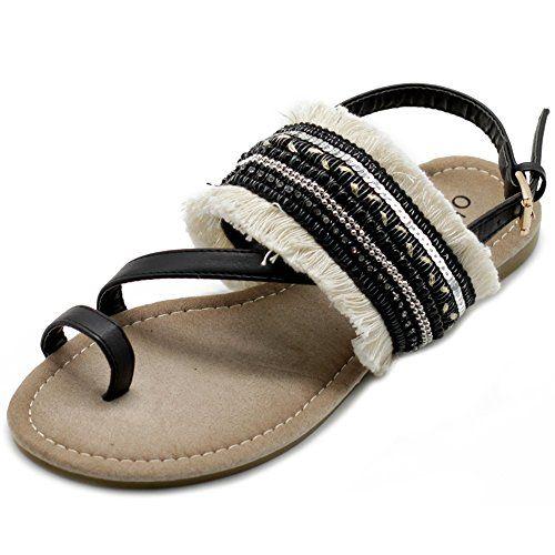 c92b69142bc4e Ollio Women s Shoes Ethnic Toe Ring Diagonal Strap Sling Back Boho Flat  Sandals