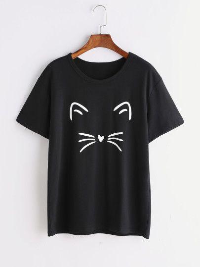 d23dc1c666b3 Camiseta con estampado de gato - negro | ropa en 2019 | Camisetas ...