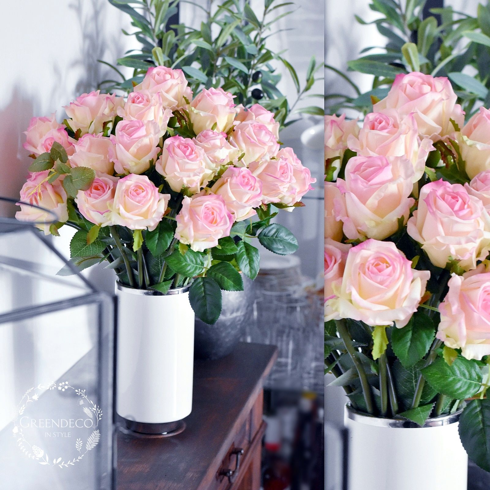Bukiet Roz W Wazonie Kwiaty Silikonowe Glass Vase Table Decorations Decor