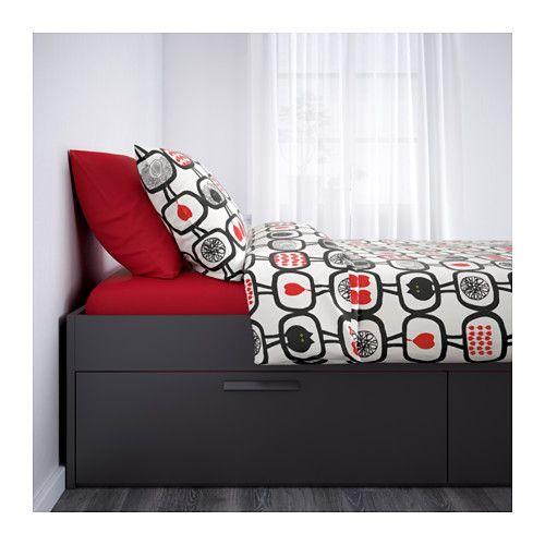 BRIMNES Bed frame with storage, black, Luröy | Dormitorio y Casas