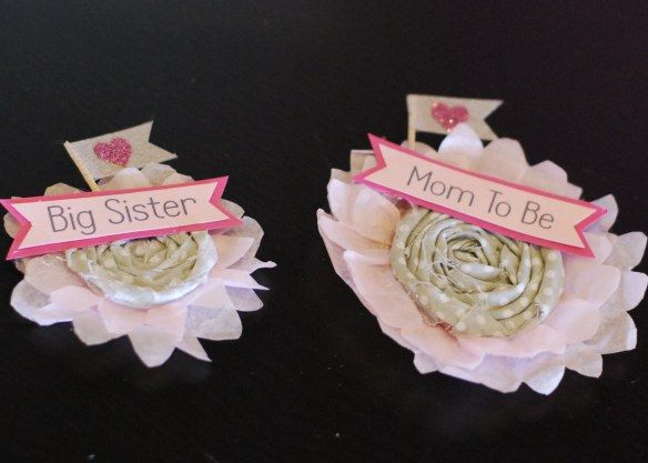 DIY Mom U0026 Big Sister To Be Pins For Baby Sprinkle/shower   Posh Tart