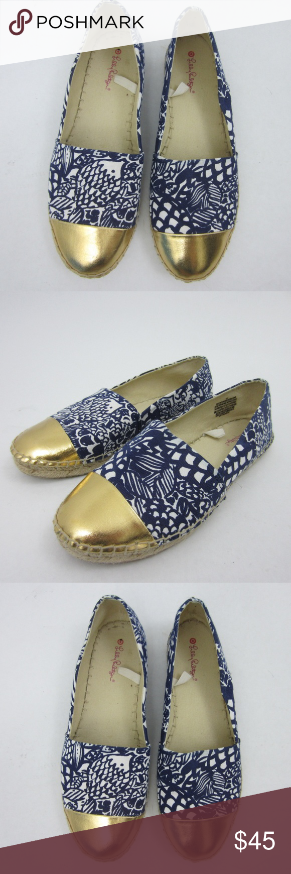 a317b8ef6381ea Target Lilly Pulitzer Blue & Gold Fish Espadrilles Beautiful and hard to  find pair of Lilly