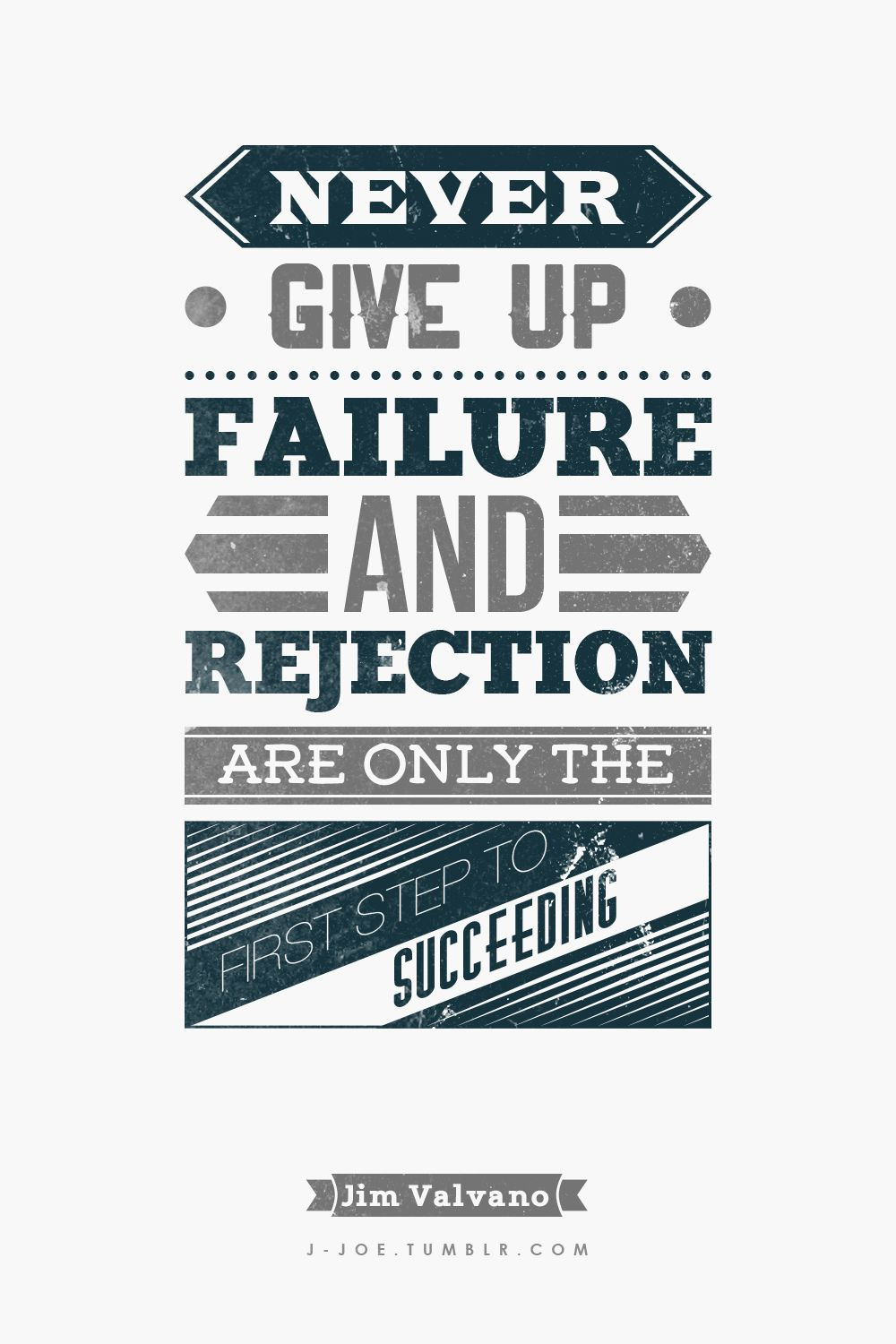 """Succeeding Quotes Typographic Quote 310 """"Never Give Up Failure And Rejection Are"""