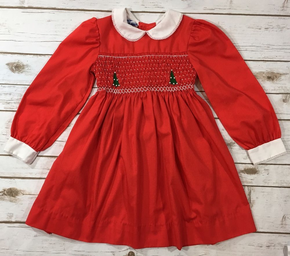 9888a1e35 Vintage 80s Polly Flinders Bright Red Smocked Christmas Tree Dress Girls  Size 6 | eBay