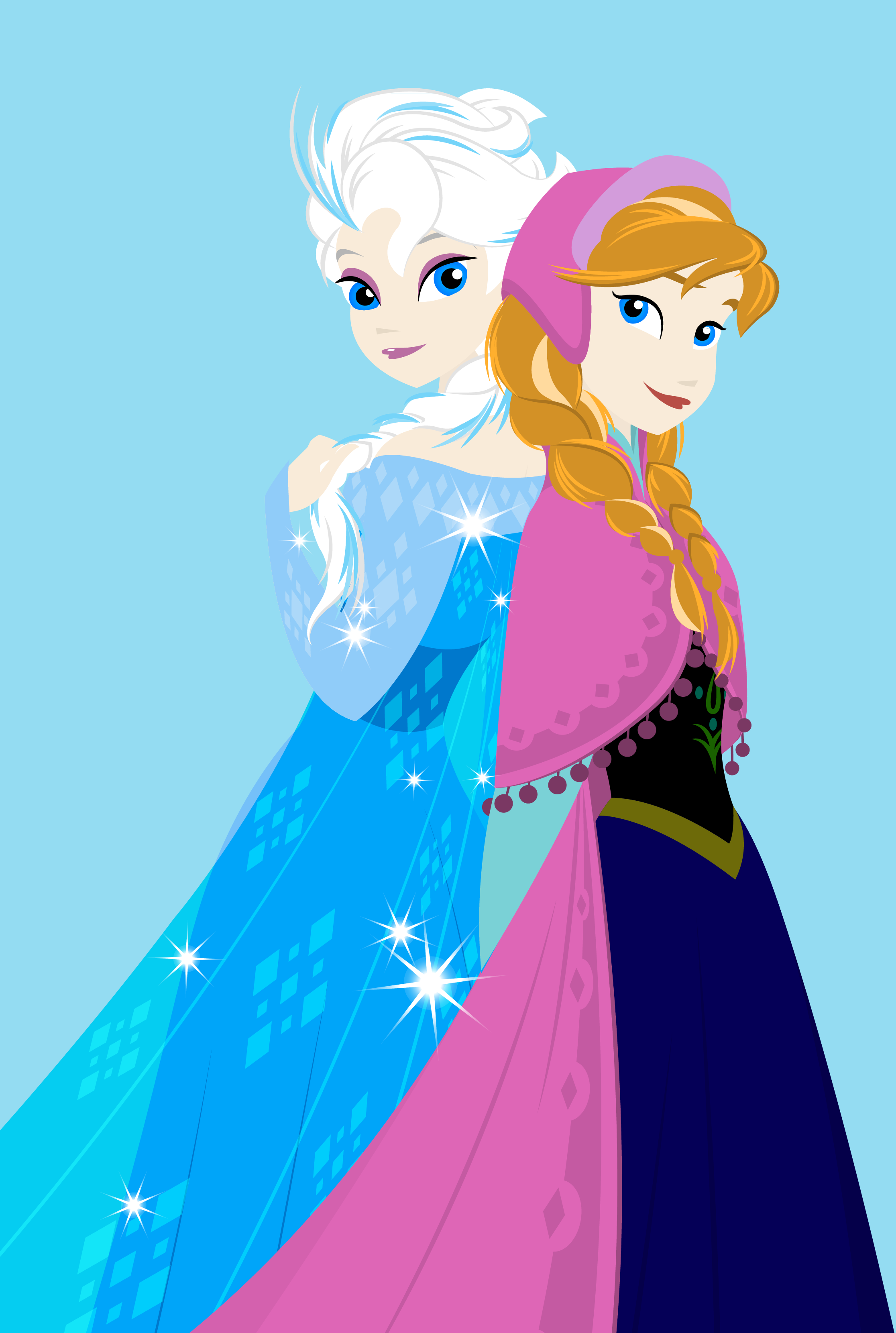 Di disney frozen wall murals - Here S Another Drawing For Disney S Frozen Princess Anna And Elsa The Snow Queen Side By Side Elsa And Anna First Drawing