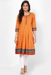 Cotton Blend Orange Kurta