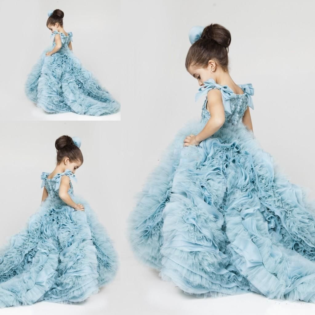 d81f8d0bb New Pretty Flower Girls Dresses 2016 Ruched Tiered Ice Blue Puffy Girl  Dresses For Wedding Party Gowns Plus Size Pageant Dresses Sweep Train  Princess Dress ...