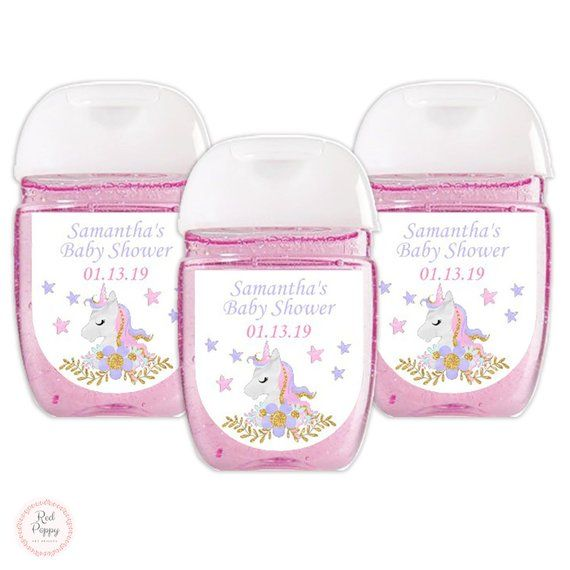 Unicorn Baby Shower Favor Label Personalized Unicorn Hand