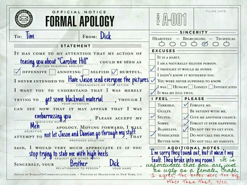 Iu0027m not sorry Get over it Batfamily apologies ✓ Batfamily - apology letter to family