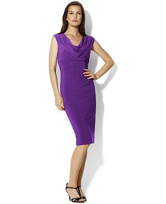 Lauren by Ralph Lauren Dress, Sleeveless Empire Waist Cowl Neck - Dresses - Women - Macy's