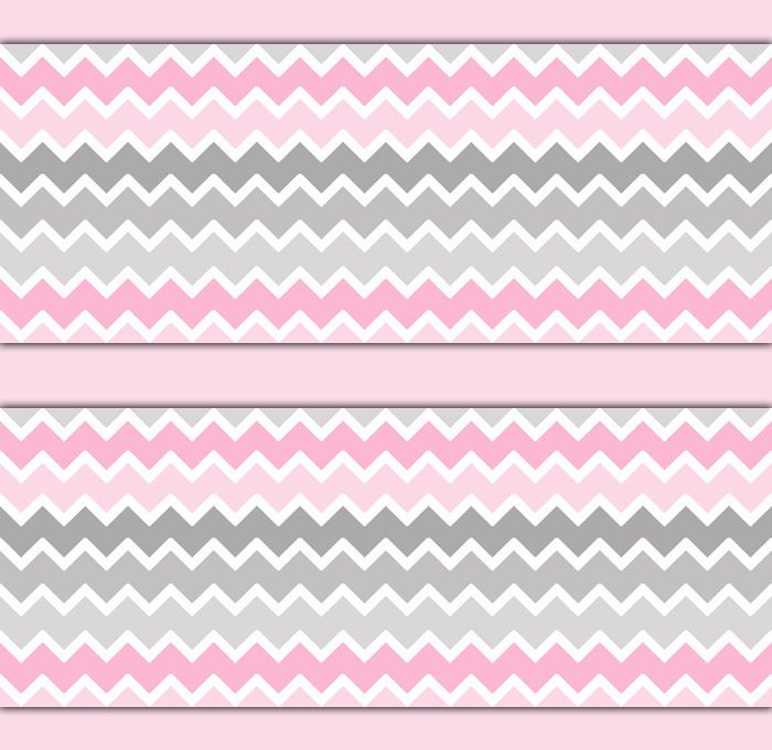 Pink Grey Gray Ombre Chevron Wallpaper Border Wall Art Decals Baby ...
