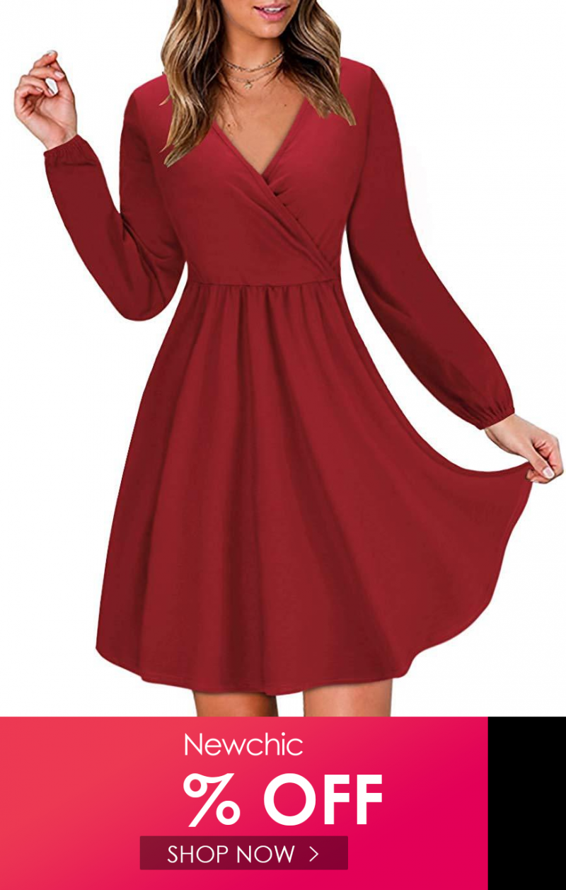Solid Color V Neck Long Sleeved Women Casual Dress Casual Dresses For Women Casual Dress Casual Women [ 1257 x 800 Pixel ]