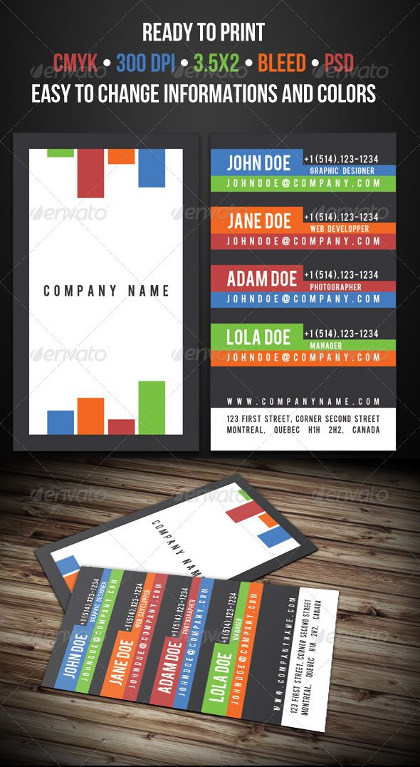 Multi-Contact Business Card #GraphicRiver READY TO PRINT AND FULL ...