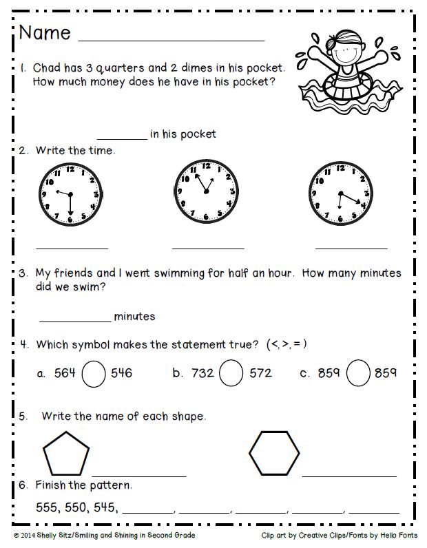 DONE-Summer Math Freebie for Second Grade | Kids | Pinterest | Maths ...