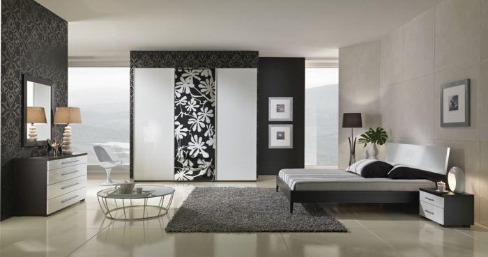 schlafzimmer einrichten ideen grauer teppich elegante tapeten, Schlafzimmer design