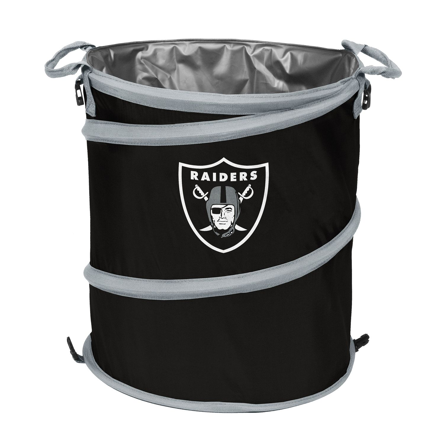 Logo Brand Oakland Raiders Collapsible 3 In 1 Trashcan Cooler Nfl Oakland Raiders Oakland Raiders Logo Brands
