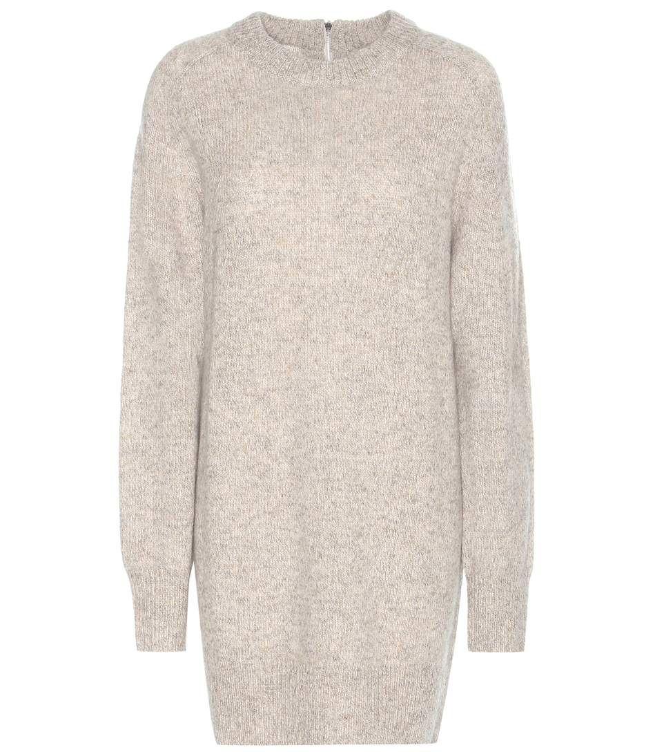 Rosa beige grey shetland wool knitted sweater dress