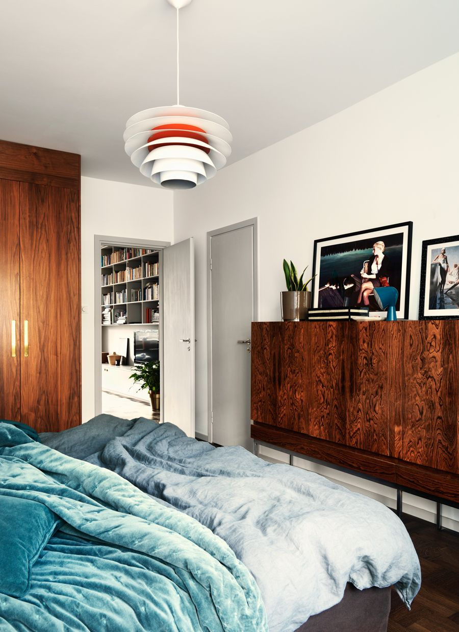 Modern retro bedroom with lovely photo art