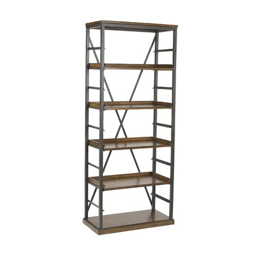 A Handsome Addition To Your Living Room Or Library This Industrial Chic Bookcase Showcases 4 Adjustable Shelves And Timeless Oak Finish