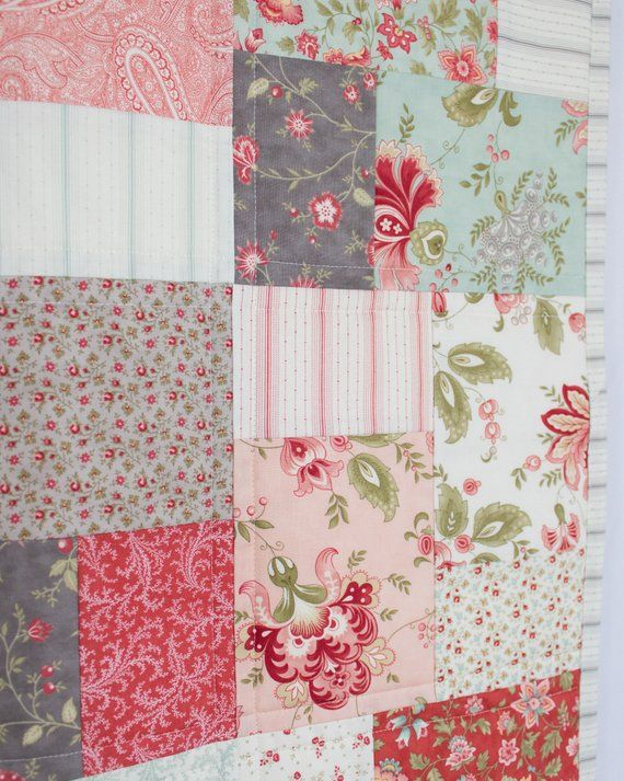 Patchwork Baby Grow Blanket Pink And Grey Nursery Baby Girl Quilt Handmade Floral