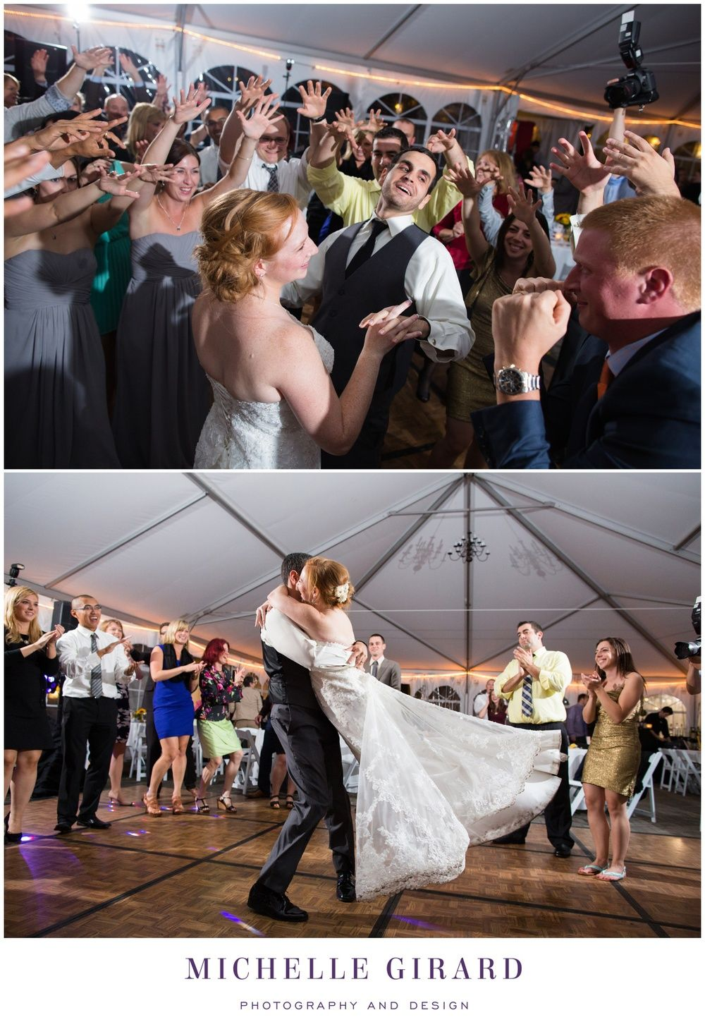 Bride and Groom Dancing at Reception :: Fall Tent Wedding Reception on a Rainy Day :: Charming New England Inn Wedding at The Lord Jeffery Inn in Amherst, Massachusetts :: Michelle Girard Photography and Design