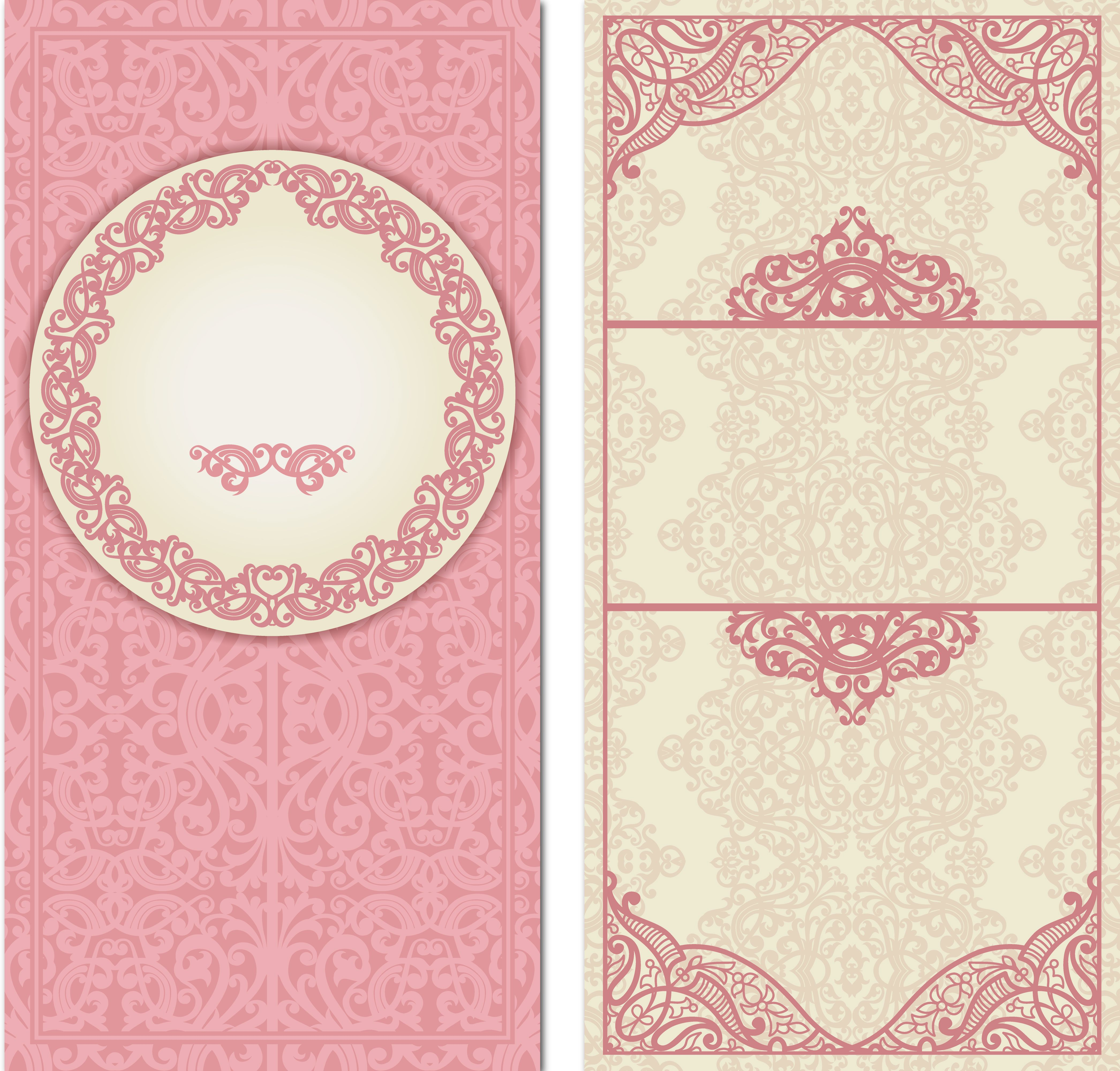 pink wedding invitation card vector background material