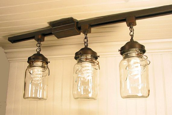 mason jar track lighting trio with