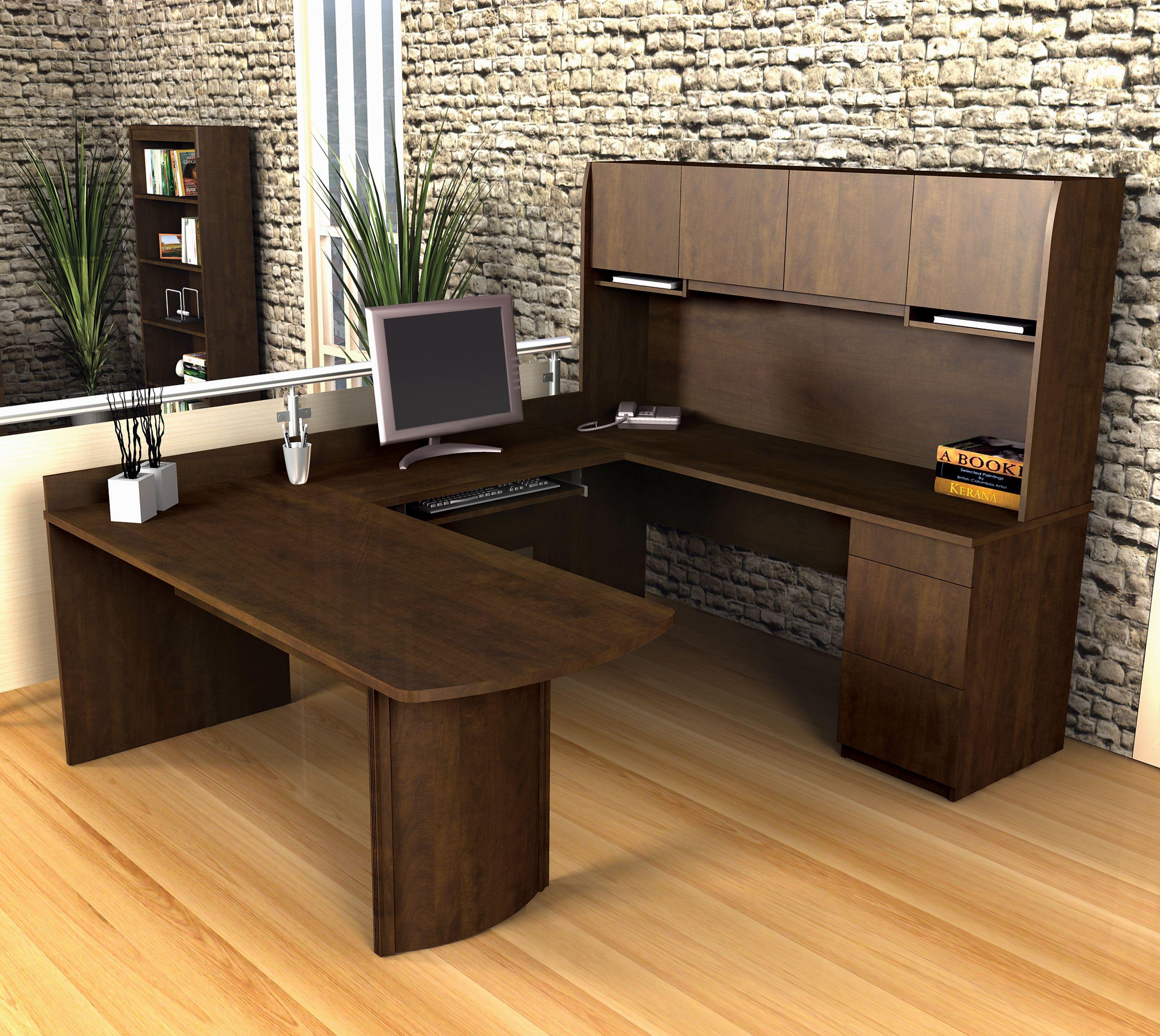 Create A Home Office Area With U Shaped Desk Desk Layout Home Office Furniture Office Furniture Design
