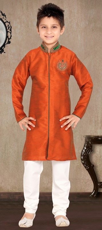 200959 Orange  color family Boy Kurta Pyjama in Art Silk, Raw Dupion Silk fabric with Bugle Beads, Cut Dana, Resham, Stone, Thread work .