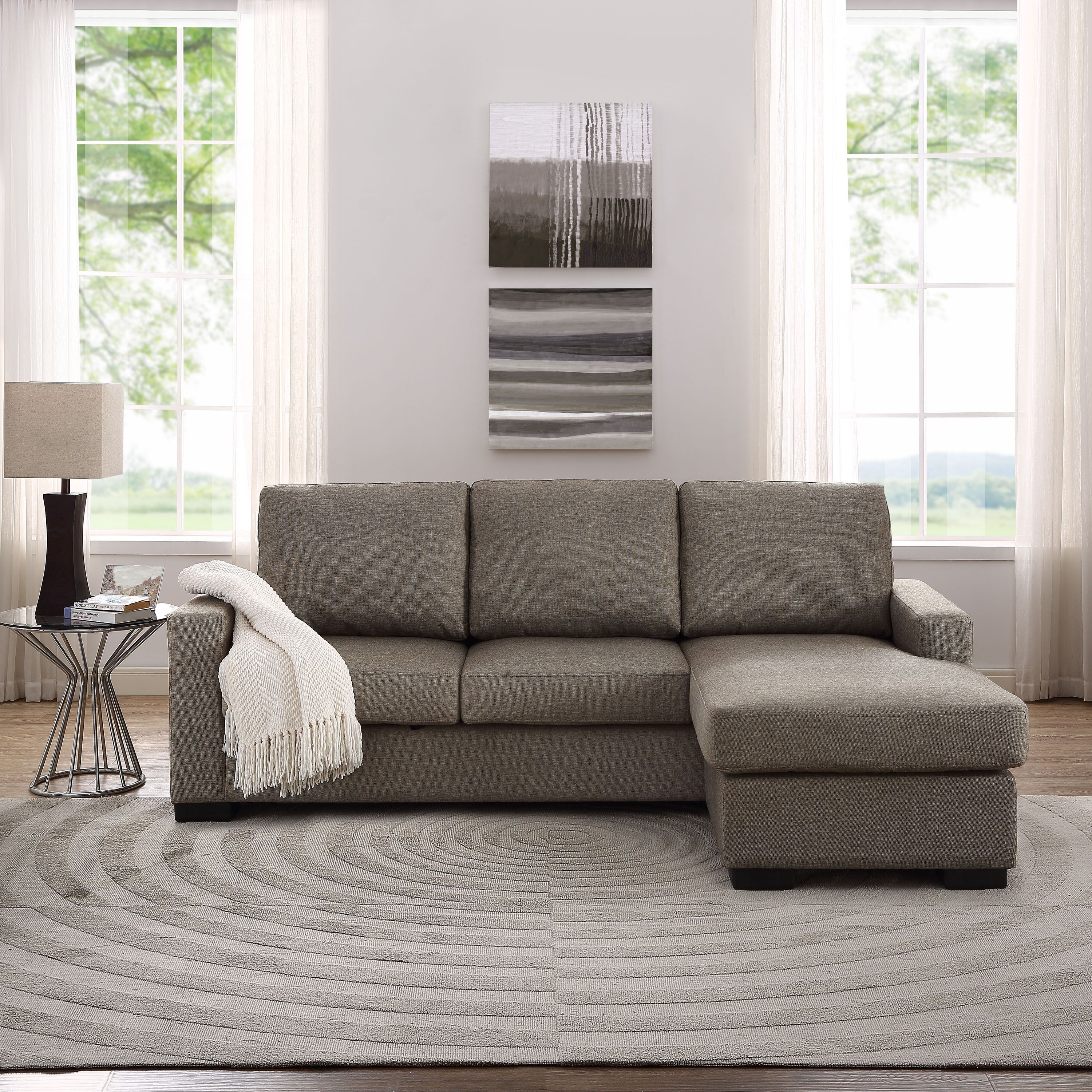 The Hom Colton Linen Sectional Sofa with Reversible Chaise the