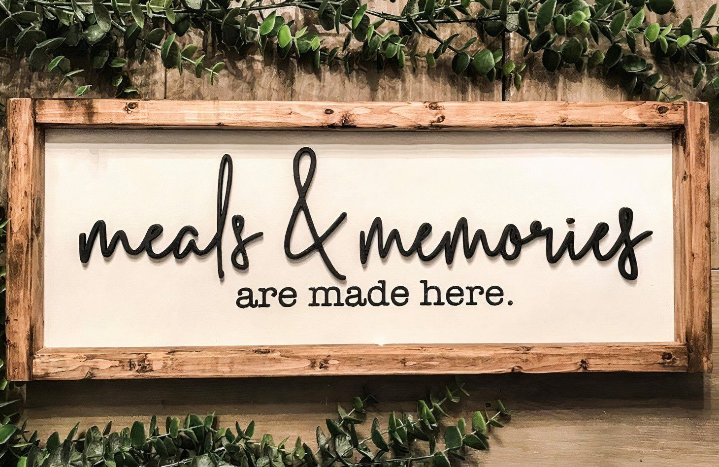 Photo of MEALS AND MEMORIES WOOD SIGN – 8 x 18 Inches / White background black letters