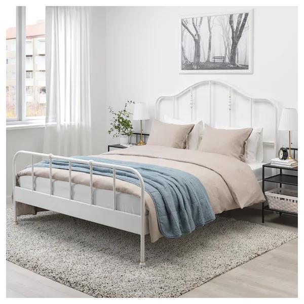 SAGSTUA Bed frame white, Luröy Queen Bed frame