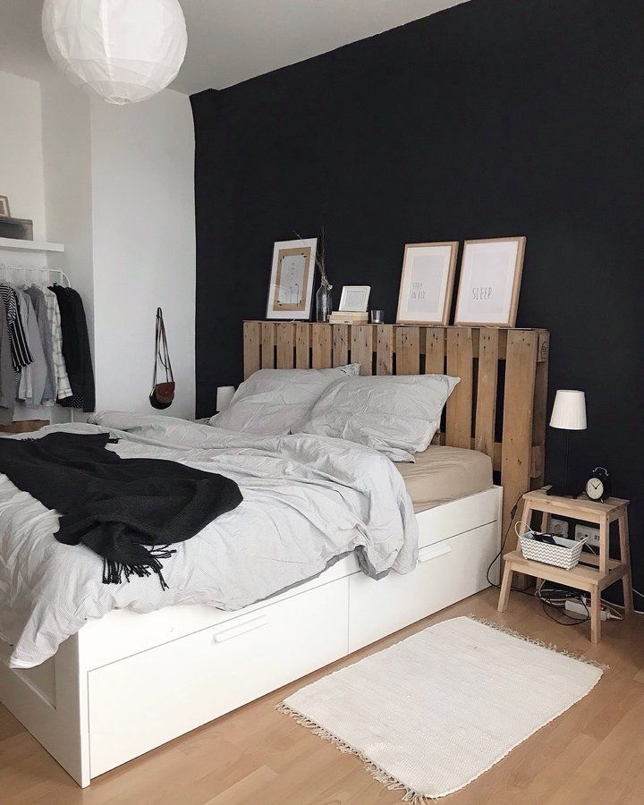 schlafzimmer schwarze w nde pinterest schlafzimmer wohnideen dekoration und diy bett. Black Bedroom Furniture Sets. Home Design Ideas