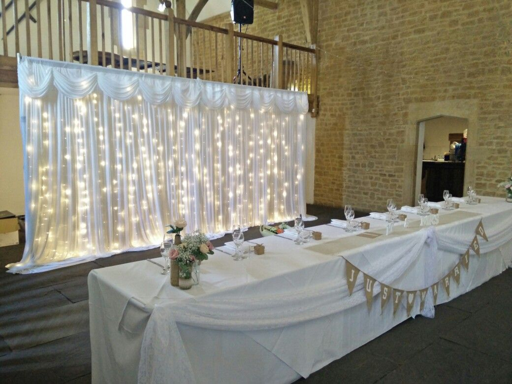 wedding chair covers tamworth french woven cafe chairs white backdrop with lace top table swag at haselbury mill