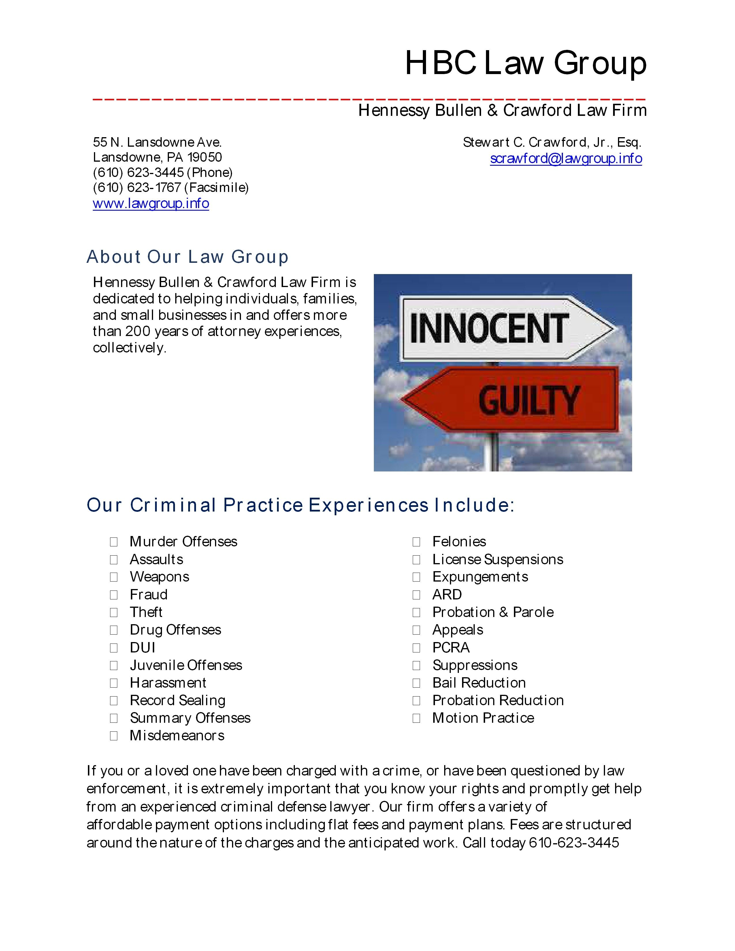 Hennessy Bullen & Crawford Law Firm, Experienced criminal