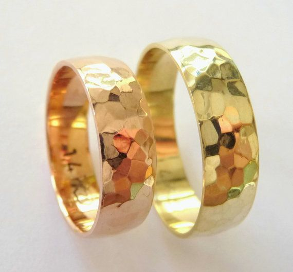 Hammered Wedding Bands Set Womens Mens Rings 6mm Polished Shiny Yellow And Rose Gold