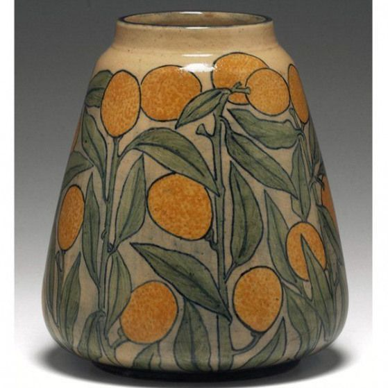 Exquisite Newcomb College vase beautifully painted design of textured lemons covered in a high glaze... - #beautifully #college #design #exquisite #newcomb #painted #textured - #WheelThrownPottery