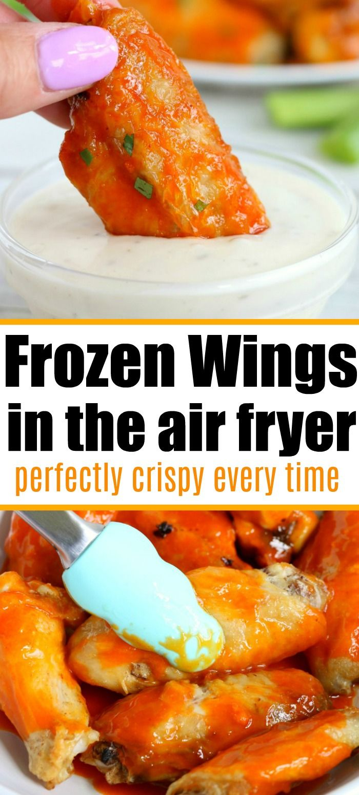 Frozen chicken wings in air fryer machines actually turn out great! Tender meat on the inside with a crispy skin and smothered in sauce. It's the way to go! #frozen #wings #chickenwings #airfryer #airfryerrecipes #frozenwings