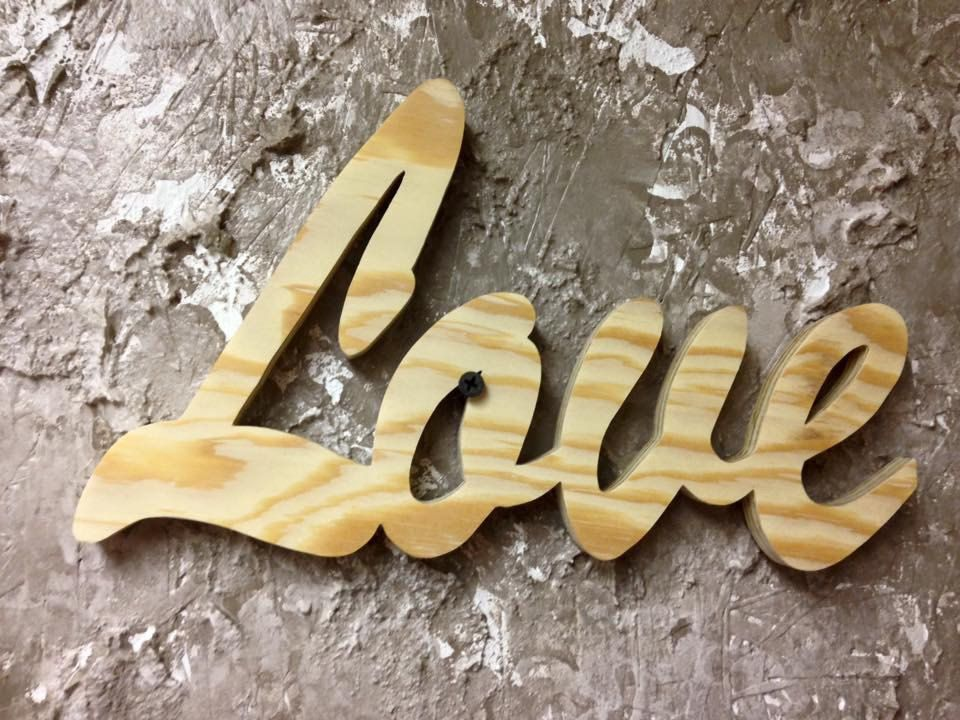 PWLOVE1 *Made to order* Unfinished Wooden Word Wall Art - Love ...