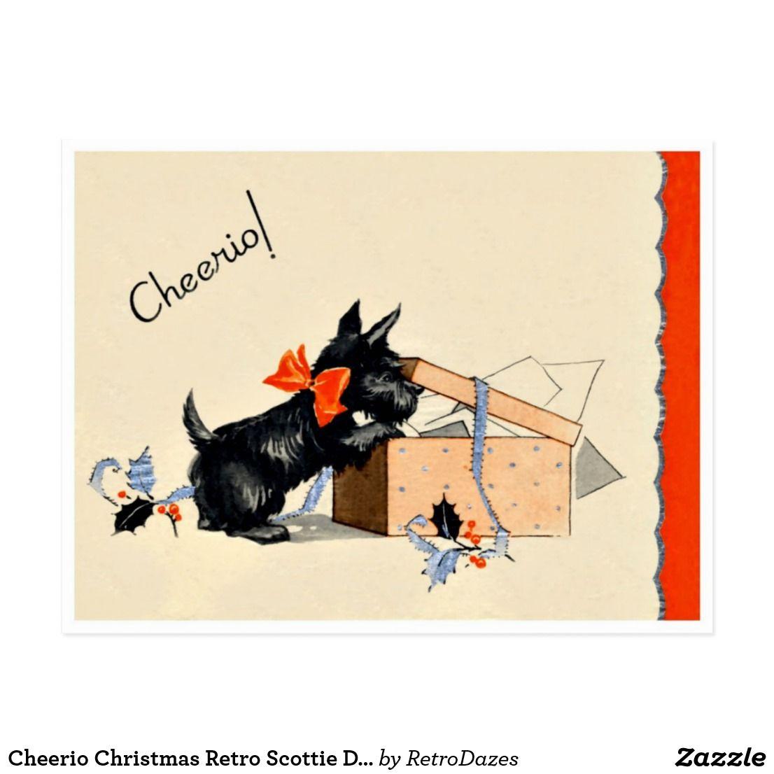 Cheerio Christmas Retro Scottie Dog Holiday Postcard Postcards