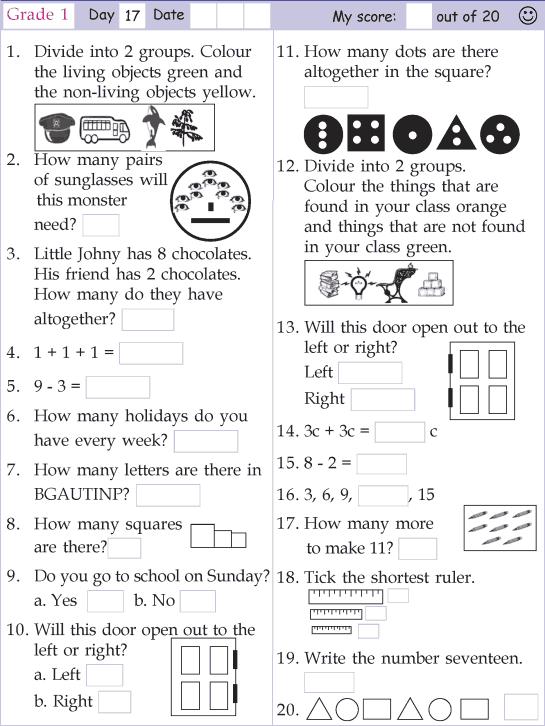 Mental Math Grade 1 Day 17 Mental Maths Worksheets Kids Math Worksheets Math Pages