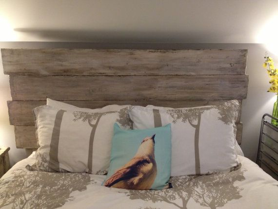 blue etsy headboard hand weathered rustic distressed market il wood wooden grey